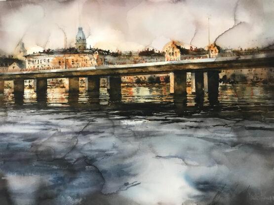 Björn-Bernström -Riddarfjärden-akvarell-57x76cm-16.000kr