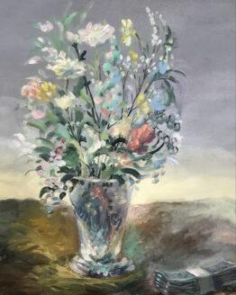 Tilpo-Blomsterfonden-olja-på-duk-50x60cm-Pris 8.500kr