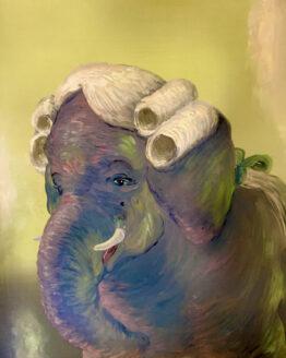 Tilpo-Elefantdomare-olja-på-pannå-60x70cm-Pris 9.500kr